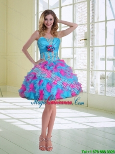 New Arrival Ball Gown Strapless Ruffles Dama Dresses with Hand Made Flower