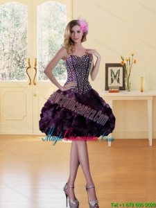 New Arrival Beading Burgundy Sweetheart Dama Dress with Ruffled Layers