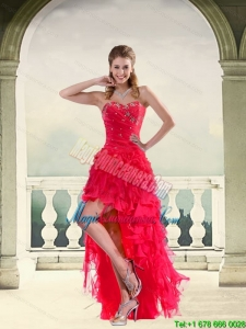 New Arrival Coral Red Ball Gown Strapless Dama Dresses with Ruffles and Beading