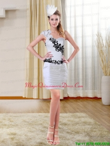 2015 Column New Arrival Sweetheart White Dama Dresses with Appliques