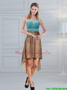 New Arrival Beading Leopard Printed Dama Dresses in Aqua Blue