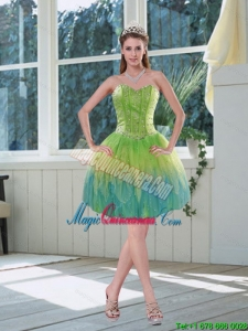 New Arrival Beading Multi Color Sweetheart Dama Dress with Appliques