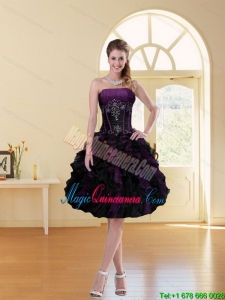 New Arrival Multi Color A Line Ruffles Strapless Dama Dress with Beading