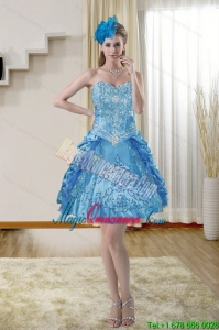 New Arrival Sweetheart Blue Dama Dresses with Embroidery