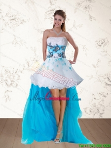 2015 Discount Multi Color Strapless Dama Dresses with Embroidery and Beading