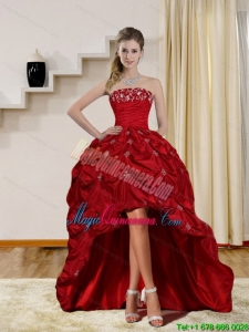 2015 Discount Strapless Red Dama Dresses with Embroidery and Pick Ups