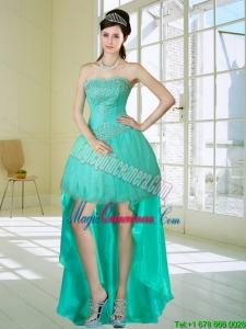 Apple Green Strapess Discount High Low Dama Dresses with Embroidery and Beading