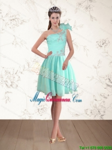 Discount Apple Green One Shoulder Dama Dresses with Beading