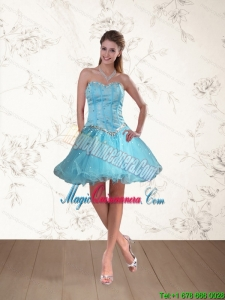 Discount Baby Blue Sweetheart Dama Dresses with Ruffles and Beading