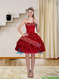 Discount Ball Gown Red Strapless Dama Dresses with Embroidery