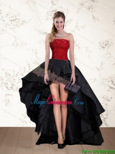 Discount High Low Strapless Beading Dama Dresses in Red and Black