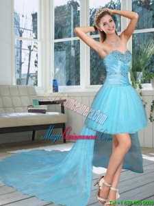 High Low Discount Sweetheart Beading Dama Dresses in Baby Blue