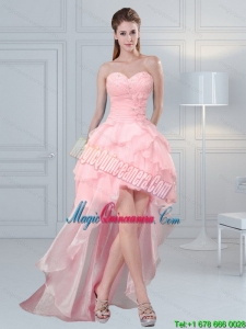 2015 Afforable Baby Pink Sweetheart Beading Dama Dresses with Ruffled Layers