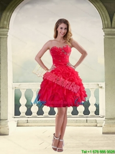 2015 Modest Strapless Red 2015 Dama Dresses with Ruffles and Beading