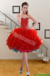 2015 Pretty Sweetheart Red Dama Dresses with Beading and Ruffles