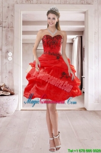 Elegant Sweetheart Red 2015 Dama Dresses with Embroidery and Pick Ups