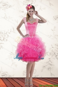 Fashionable Hot Pink 2015 Straps Dama Dresses with Beading and Ruffles