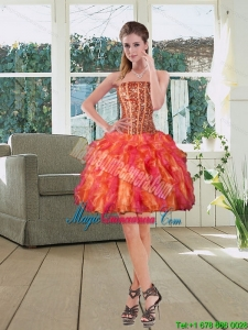 Pretty Strapless Multi Color 2015 Dama Dresses with Beading and Ruffles