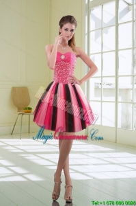 Beautiful Multi Color Sweetheart Dama Dress with Ruffles and Beading