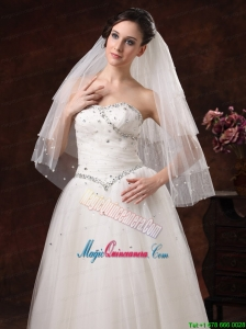 Gorgeous Pearl Trim Edge Tulle Bridal Veil