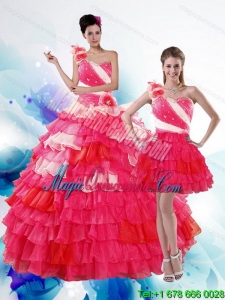 2015 Dramatic Multi Color Quince Dresses with Ruffled Layers and Beading