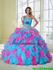 2015 Dramatic Multi Color Quinceanera Dress with Appliques and Ruffles