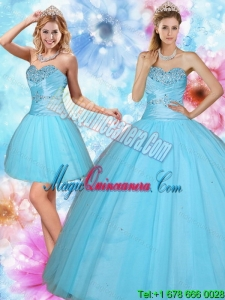 2015 Dramatic Sweetheart Beaded Quinceanera Dress in Baby Blue