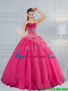 2015 Dramatic Sweetheart Hot Pink Quinceanera Dress with Appliques and Beading