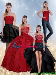 Dramatic Beading Strapless Ball Gown Dramatic Quinceanera Dress in Red and Black