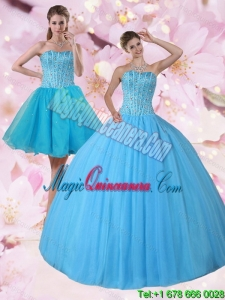 Dramatic Baby Blue Strapless Quinceanera Dress with Beading