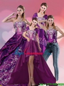 Dramatic Embroidery Strapless Quinceanera Dress in Purple for 2015