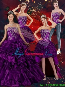 Dramatic Strapless Ball Gown Quinceanera Dress with Embroidery and Ruffles