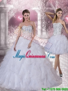 Dramatic Sweetheart White Quinceanera Dress with Ruffles and Beading