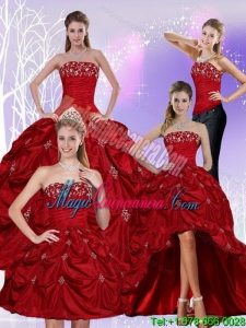 Detachable Floor Length Strapless Sweet 16 Dress with Embroidery and Pick Ups
