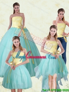 Detachable Strapless Floor Length Multi Color Quinceanera Gown with Bowknot