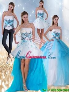 Detachable Strapless Multi Color Quinceanera Dress with Appliques and Beading
