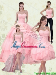 Detachable Sweetheart Beading 2015 Quinceanera Dresses with Ruffled Layers