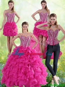 Hot Pink Sweetheart Detachable Quinceanera Gown with Beading and Ruffles