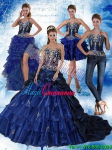 Navy Blue Sweetheart Detachable Quinceanera Dress with Embroidery and Ruffles