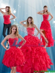 Red Strapless Detachable Quinceanera Dress with Ruffles and Beading