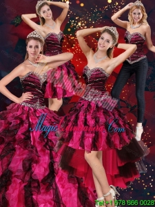 Sweetheart Beading and Ruffles Detachable Quinceanera Dress in Multi Color