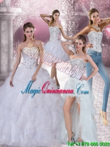 White Sweetheart Detachable Quinceanera Dress with Ruffles and Beading