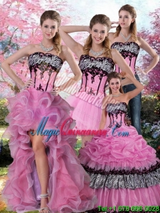 Detachable Zebra Printed Multi Color Detachable Quinceanera Dress with Pick Ups and Appliques