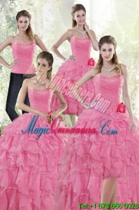 2015 Detachable Baby Pink Quince Dresses with Beading and Ruffles