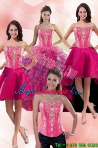 2015 Detachable Multi Color Sweet 16 Dresses with Appliques and Ruffles