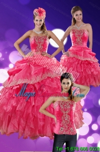 Detachable Hot Pink Quince Dresses with Ruffles and Appliques