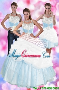 Detachable Multi Color Quince Dresses with Pick Ups and Beading