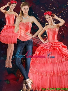 Detachable Strapless Quinceanera Dresses with Pick Ups and Beading