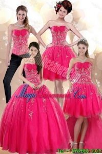 Detachable sStrapless Hot Pink Dresses for Quince with Appliques