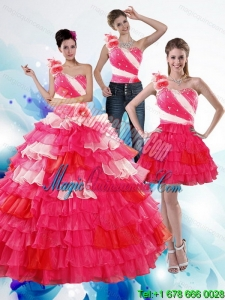 One Shoulder Ruffled Layers and Beading Multi Color Detachable Quinceanera Dresses for 2015